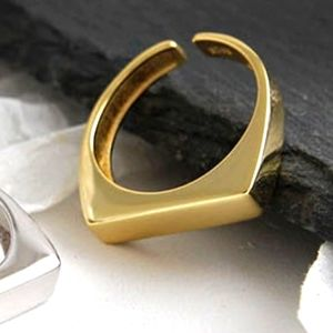 NEW 18k Gold S925 Contemporary Bar Stack Band Ring